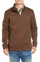 Jeremiah Men's Lance Herringbone Zip Mock Neck Sweater Bittersweet Heather