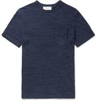 Officine Generale Melange Cotton Jersey T Shirt Navy