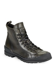 John Varvatos Heyward Lace Up Leather Ankle Boots Charcoal
