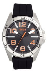Men's Boss Orange 'Big Time' Silicone Strap Watch 48Mm Black