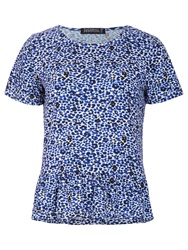 Sugarhill Boutique Leopard Print Peplum Top Blue