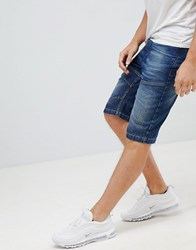 Crosshatch Dark Wash Denim Shorts Dark Wash Navy