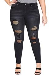 City Chic Plus Size Fishnet Ripped Skinny Jeans Black
