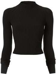 Dion Lee Ribbed Twist Detail Top Black