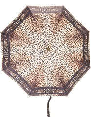 Moschino Leopard Print Umbrella Black