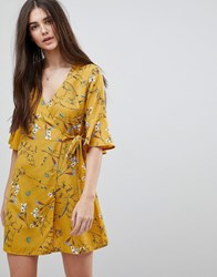 Girls On Film Floral Wrap Dress With Fluted Sleeve Mustard Floral Yellow