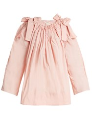Maison Rabih Kayrouz Scoop Neck Bow Detail Paper Taffeta Top Pink