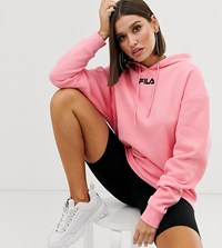 Fila Oversized Hoodie With Logo Embroidery Pink