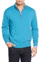 Men's Peter Millar Quarter Zip Cashmere Pullover Emerald