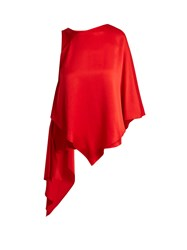 Osman Auriene One Shoulder Layered Satin Top