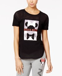 Disney Juniors' Minnie Mesh Graphic T Shirt Black