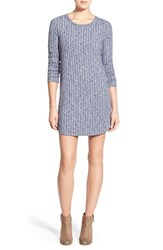 Junior Women's Everly Ribbed Long Sleeve Sweater Dress Navy