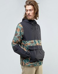 Element Alder Overhead Hooded Jacket In Black And Jungle Camo Camo Green