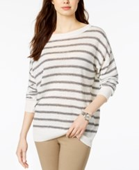 Lacoste Striped Sweater Cream
