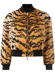Dsquared2 Tiger Print Bomber Jacket Yellow Orange