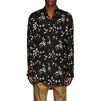 Haider Ackermann Floral Polished Twill Pajama Tunic Black