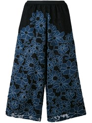 Antonio Marras Floral Embroidery Cropped Trousers Women Cotton Polyamide Polyester Spandex Elastane 0 Blue