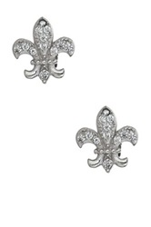 Luna Tagliare Sterling Silver Micropave Cz Fleur De Lis Stud Earrings Metallic