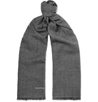 Tom Ford Fringed Prince Of Wales Checked Mohair Wool Linen And Silk Blend Scarf Gray