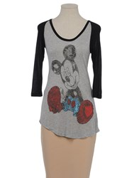 Disney Couture Topwear Short Sleeve T Shirts Women Light Grey