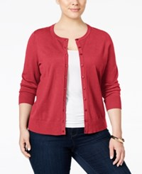 Charter Club Plus Size Long Sleeve Cardigan Only At Macy's Crushed Coral