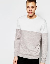 Asos Color Block Crew Neck Sweater In Cotton Gray And Brown Twist