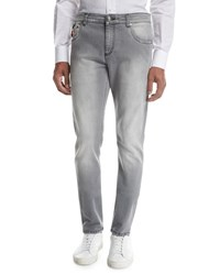 Isaia Washed Denim Slim Straight Jeans Light Gray