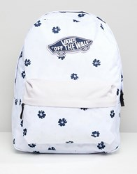 Vans Lilac Floral Print Realm Backpack White Abstract Daisy