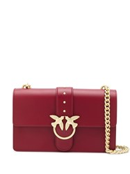 Pinko Bird Buckle Shoulder Bag Red