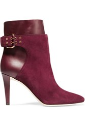 Jimmy Choo Major Suede And Leather Ankle Boots Burgundy