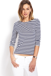Forever 21 Nautical Striped Top Navy Cream