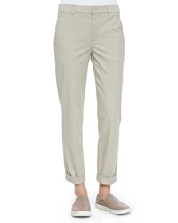 Vince Rolled Cuff Boyfriend Trousers Light Khaki