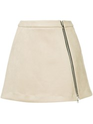 Guild Prime Zip Front Mini Skirt Nude And Neutrals