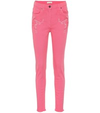Etro Embroidered High Rise Jeans Pink