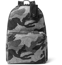 Valentino Leather Trimmed Camouflage Print Felt Backpack Gray