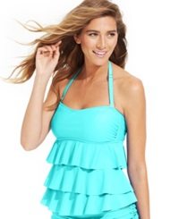 Island Escape Tiered Ruffle Tankini Top Women's Swimsuit Aqua