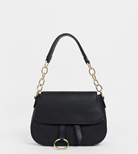 Stradivarius Hanging Buckle Cross Body Bag In Black White
