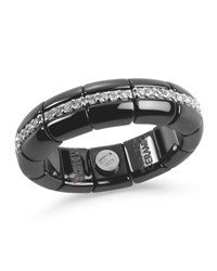 Roberto Demeglio Black Ceramic And 18K White Gold Eternity Ring With Diamonds 0.42Tdcw
