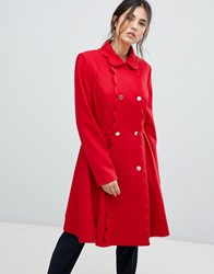 Ted Baker Blarnch Scallop Trim Wool Coat Xmid Red