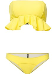 Lisa Marie Fernandez Natalie Flounce Bikini Set Yellow Orange