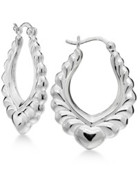 Giani Bernini Heart Stamped Hoop Earrings In Sterling Silver Only At Macy's