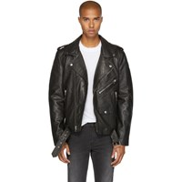 Blk Dnm Black Leather Classic '5' Biker Jacket
