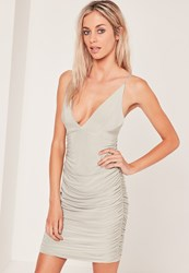 Missguided Slinky Double Strap Ruched Bodycon Dress Grey Clay