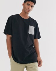 Brooklyn Supply Co. Co Oversized T Shirt With Check Pocket In Black