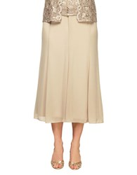 Alex Evenings Stretch Waist Tea Length Skirt Champagne