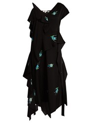 Diane Von Furstenberg Swallow Print Stretch Silk Dress Black Print