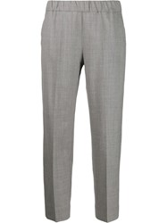 D.Exterior Plain Cropped Trousers Grey