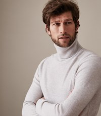 Reiss Mansell Cashmere Rollneck Jumper In Arctic Mist