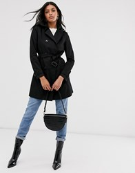 Stradivarius Basic Trench Coat In Black