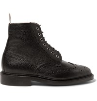 Thom Browne Leather Wingtip Brogue Boots Black